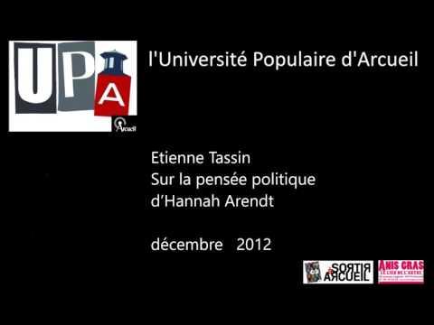 2012 - Sur la pensée politique d'Hannah Arendt - Etienne Tassin